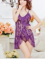 Lingerie en Dentelle Vêtement de nuit Femme,Sexy Couleur Pleine-Mince Mélanges de Coton Aux femmes