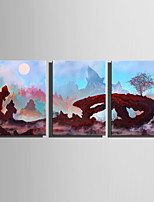 E-HOME Stretched Canvas Art Strange Rock Scenery Decoration Painting Set Of 3