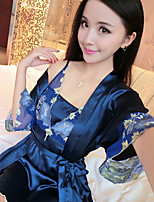 Women Gartered Lingerie Nightwear,Sexy Solid-Thin Rayon Pink Dark Blue Women's