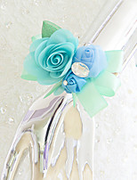 Wedding Flowers Free-form Roses Wrist Corsages Wedding Party/ Evening Green Satin
