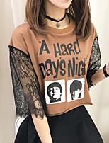 Feminino Camiseta Casual Activo Primavera Verão,Estampado Poliéster Decote Redondo Meia Manga Média