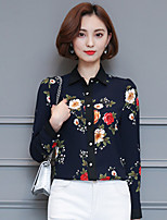 Women's Going out Simple Spring Summer Blouse,Print Stand Long Sleeve Blue White Black Polyester Medium