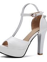 נשים-סנדלים-PU-נעלי מועדון-לבן שחור סגול ורוד-חתונה משרד ועבודה שמלה-עקב סטילטו