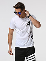 Men's Going out Casual/Daily Holiday Simple T-shirt,Print Round Neck Short Sleeve Red White Gray Green Cotton