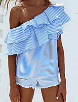 Women's Off The Shoulder Going out Casual/Daily Cute Street chic Summer Shirt,Striped Boat Neck Sleeveless Nylon