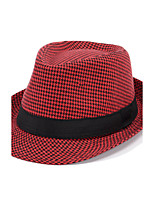 Men's Holiday Houndstooth Color Lattice Print Wide Brim Hat Jazz Vacation Shade Sun Cap