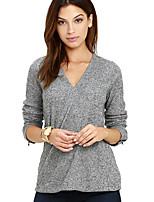 Damen Solide Einfach Lässig/Alltäglich T-shirt,V-Ausschnitt Frühling Herbst Langarm Kunstseide Polyester Dünn