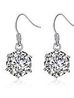 Concise Silver Plated 6 Prongs Clear Crystal Imitation drill Waterdrop Dangle Earrings for Party Jewelry Accessiories