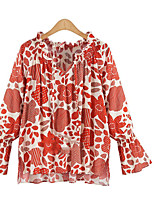 Women's Going out Simple Spring Summer Shirt,Floral V Neck Long Sleeve Rayon Thin