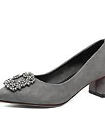 Feminino-Saltos-Sapatos clube-Salto Grosso Salto de bloco--Flanelado-Escritório & Trabalho Social Festas & Noite