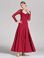 Ballroom Dance Dresses Women's Performance Tulle Milk Fiber Sequins Splicing 1 Piece Long Sleeve Natural Dress