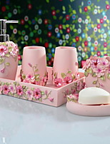 Romantic Bathroom Accessory Set of 6 Objects Resin /Barroco
