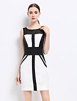 YZXH Women's Going out Sexy Sophisticated Sheath Dress,Color Block Round Neck Above Knee Sleeveless Cotton Polyester Summer Mid Rise Inelastic