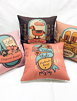 1 pcs Linen Pillow Case Body Pillow Travel Pillow Sofa Cushion Pillow Protector,Floral Still Life Eiffel Tower Cities Graphic Prints