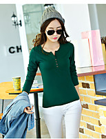 Women's Going out Casual/Daily Simple T-shirt,Solid Round Neck Long Sleeve Cotton