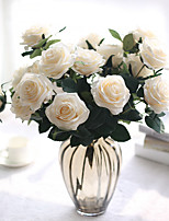 1 Branch Polyester Plastic Roses Tabletop Flower Artificial Flowers 9.5*6