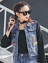 Women's Casual/Daily Street chic Spring Denim Jacket,Color Block Shirt Collar Long Sleeve Short Cotton