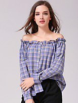 Women's Going out Casual/Daily Holiday Sexy Spring Summer Shirt,Rainbow Check Boat Neck Long Sleeve Blue Pink Red Polyester Opaque