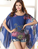 Women's Casual/Daily Vintage Blouse,Print Round Neck ½ Length Sleeve Polyester Thin