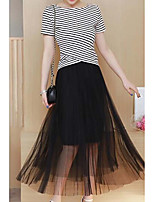 Women's Fine Stripe Real fashion shoot fashion suit summer female striped shirt + gauze skirt two-piece