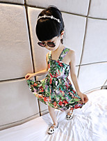 Girl's Holiday Floral Dress,Cotton Summer Sleeveless