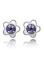 Stud Earrings Crystal Flower Style Love Euramerican Personalized Classic Chrome Jewelry For Wedding Party Birthday Gift 1 pair