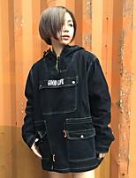 Для женщин На каждый день Весна осень Джинсовая куртка Капюшон,Винтаж Уличный стиль Буквы Обычная Длинный рукав,Хлопок