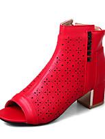 Women's Boots Summer Club Shoes Leatherette Dress Party & Evening Chunky Heel Block Heel Rivet Zipper