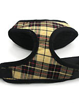 Cat Dog Harness Adjustable/Retractable Breathable Safety Plaid/Check Fabric Mesh