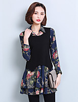 Women's Casual/Daily Simple Blouse,Print Shirt Collar Long Sleeve Polyester Thin