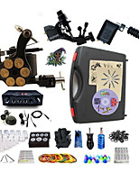 Complete Tattoo Kit 3  Machines Black Cyclone Dual LED Digital Power Supply  Liner & Shader