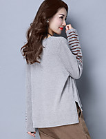 Women's Going out Casual/Daily Simple Regular Pullover,Solid Asymmetrical Long Sleeve Wool Faux Fur Spring Fall Medium Micro-elastic