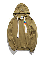 Men's Casual/Daily Hoodie Solid Round Neck Micro-elastic Cotton Long Sleeve Spring