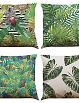 Set of 4 Tropical Plants Pattern  Linen Pillowcase Sofa Home Decor Cushion Cover