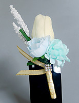 Wedding Flowers Free-form Roses Boutonnieres Wedding Party/ Evening Light Blue Satin