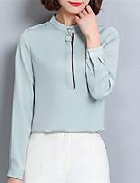 Для женщин Офис Весна Рубашка Воротник-стойка,Уличный стиль Однотонный Длинный рукав,Полиэстер,Средняя