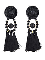 Lureme Vintage Statement Black Tassel Drop Dangle Earrings Handcrafted Crystal Casual Jewelry
