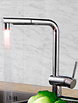 Kitchen Faucet Contemporary Art Deco/Retro Modern Tall/High Arc Pull-out/Pull-down Standard Spout Deck Mounted LED Thermostatic Pullout Kitchen Faucet