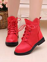 Черный Красный-Девочки-Повседневный-Полиуретан-На низком каблуке-Удобная обувь-Ботинки