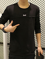 Men's Going out Active Sweatshirt Solid Round Neck Micro-elastic Cotton Long Sleeve Fall