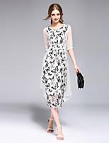 Для женщин На каждый день Пляж Праздник Простое Уличный стиль Изысканный С летящей юбкой Платье С животными принтами,Круглый вырезСредней