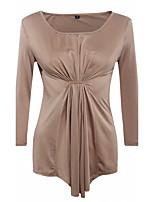 Damen Solide Retro Anspruchsvoll Ausgehen Lässig/Alltäglich T-shirt,U-Ausschnitt Langarm Baumwolle Kunstseide