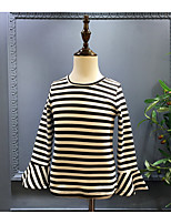 Casual/Daily Striped Blouse,Cotton Spring Fall Long Sleeve