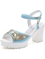 Women's Heels Summer First Walkers PU Office & Career Dress Casual Chunky Heel Wedge Heel Block Heel Rhinestone Silver Blue Blushing Pink