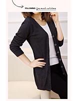 Women's Casual/Daily Cute Regular Cardigan,Solid V Neck Long Sleeve Rayon Spring Fall Medium Micro-elastic