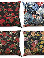Set of 4 Black Rose  Pattern Pattern  Linen Pillowcase Sofa Home Decor Cushion Cover