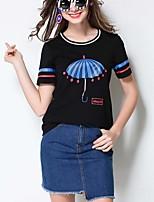Damen Solide Druck Einfach Street Schick Aktiv Lässig/Alltäglich Strand Sport T-shirt,Rundhalsausschnitt Alle Saisons Sommer Kurzarm