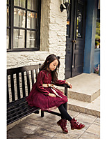 Girl's Holiday Solid Dress,Polyester Spring Long Sleeve