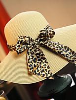 Women's Fashion Straw Hat Sun Hat Wide Brim Hat/Cap Cute Casual Bowknot Leopard Print Beach Summer Beige/Fuchsia/Navy Blue