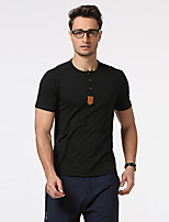 Men's Going out Casual/Daily Holiday Simple T-shirt,Solid Crew Neck Short Sleeve Cotton